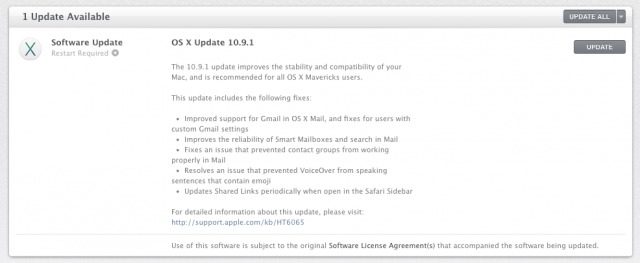 OS X 10.9.1 can now be downloaded through the Mac App Store's software update section.