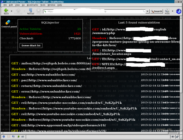 Sites browsed by hacked PCs (left) and SQL injection flaws found by the botnet (masked, right).