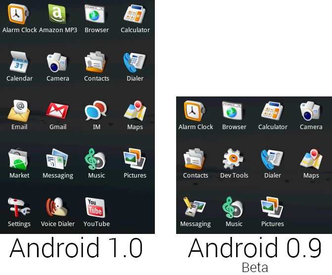 The default app selection of Android 1.0 and 0.9.