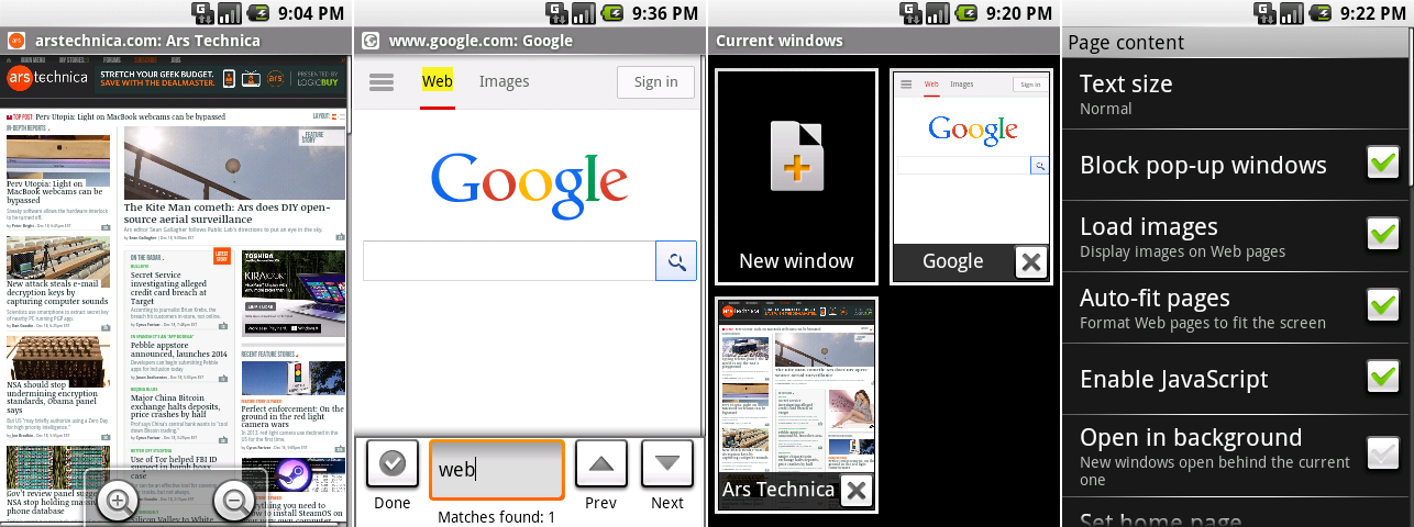 From left to right: Android 0.9's browser showing off the zoom controls, find-in-page interface, browser windows, and the settings.