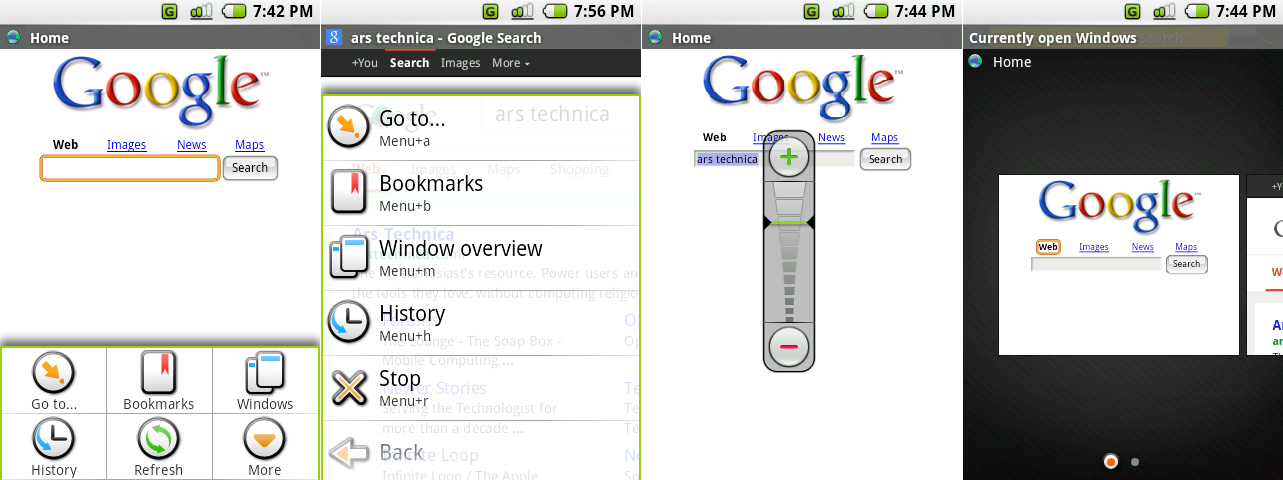 The browser's primary menu, the browser's <em>secondary</em> menu, the crazy zoom control, and the window interface.