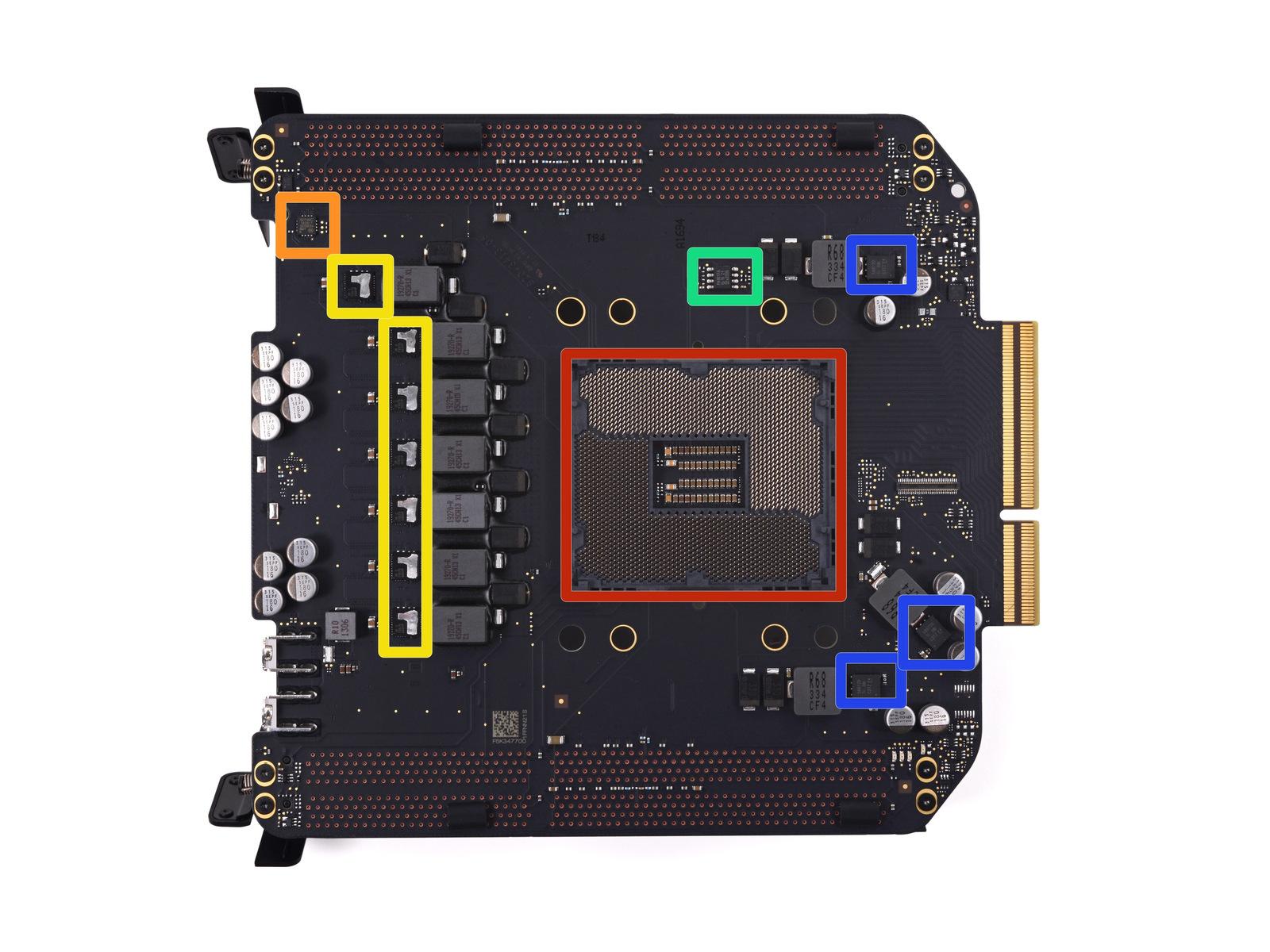 A clearer shot of the Mac Pro's LGA 2011 CPU socket.