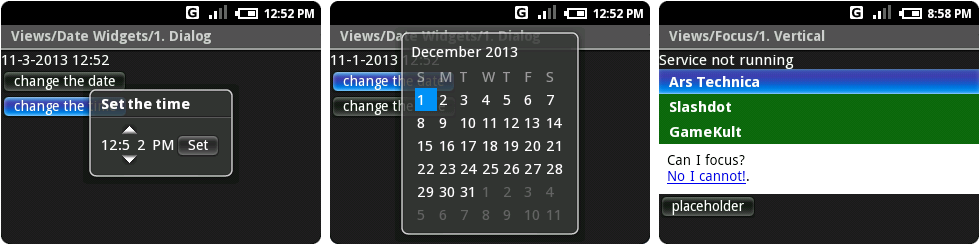 The time picker and calendar, with ridiculous kerning issues, and the vertical list test, featuring Ars.