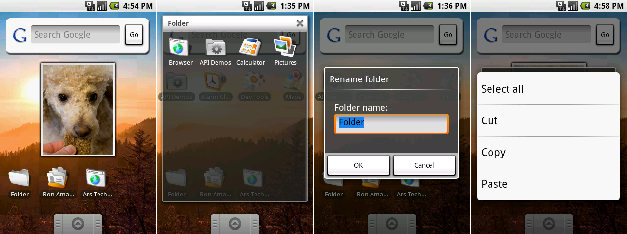 A collection of widgets, an open folder, renaming a folder, and the copy/paste menu.
