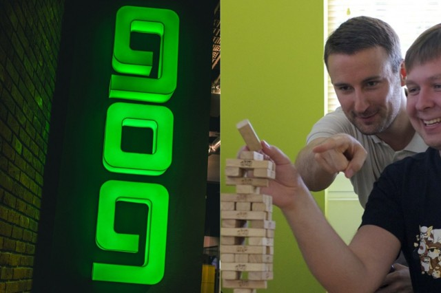 GOG.com's Guillaume Rambourg giving Jenga advice.