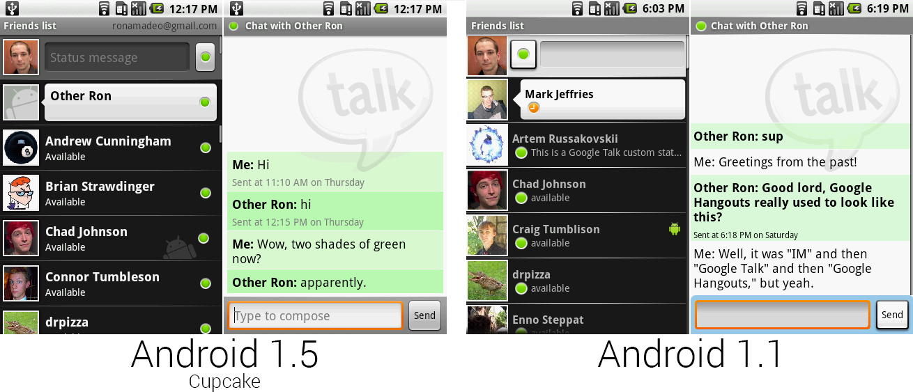 Google Talk running in the Google Talk app versus Google Talk running in the IM app.