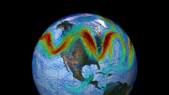 The jet stream, here caught wiggling.