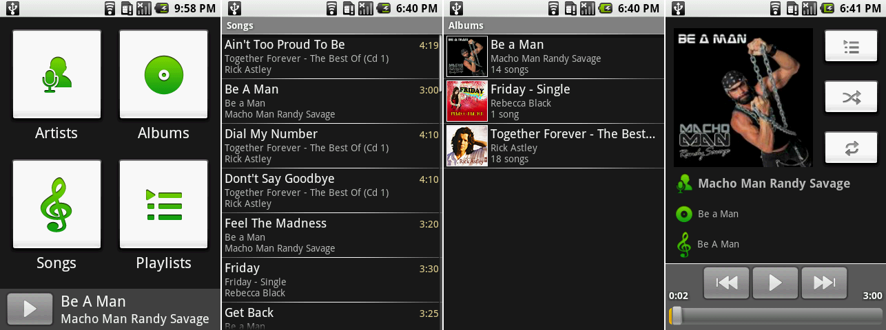 "The Music player's main navigation page, song list, album list, and ""now playing"" screen."