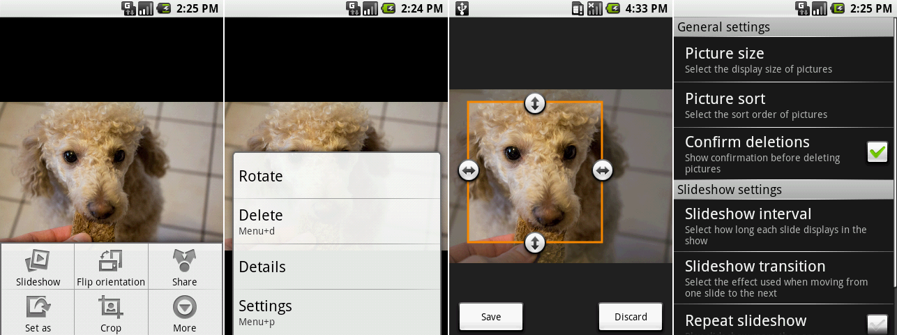 """Picture editing! These screenshots show an open menu, the """"more"""" menu, cropping, and the settings."""