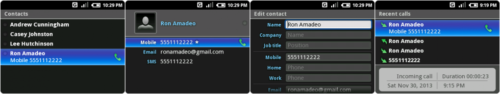 The contacts list, an individual contact, editing a contact, and the recent calls screen.