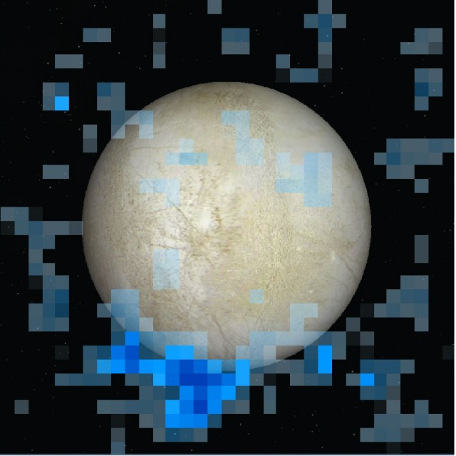 Hubble data overlaid on image of Europa.