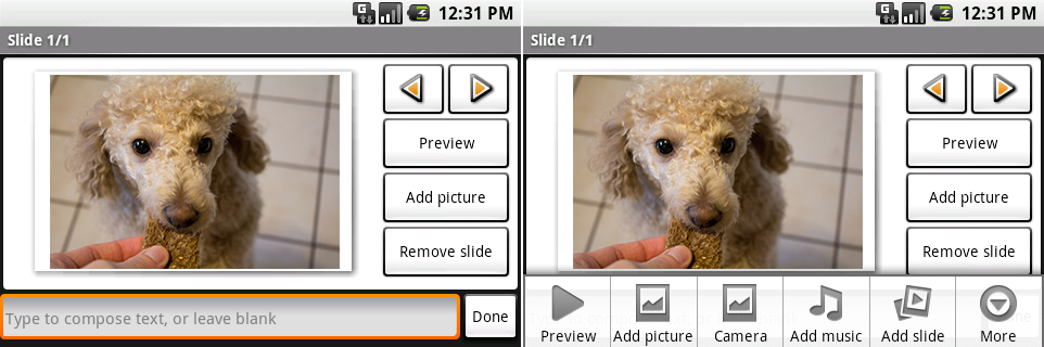 The slideshow creator. The right picture shows the menu options.
