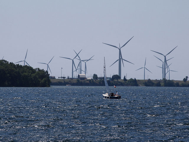 Wind turbines in New York.