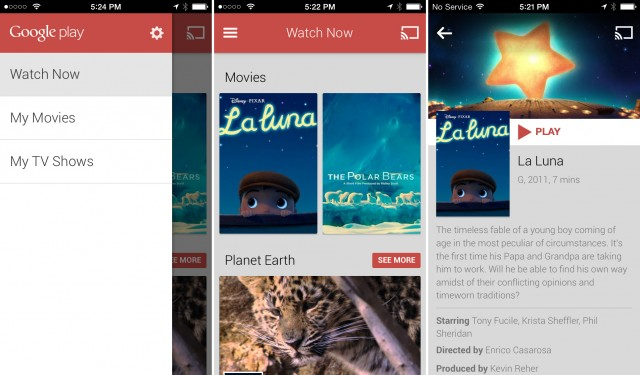 Google Play Movies & TV comes to iOS, minus the store and offline support