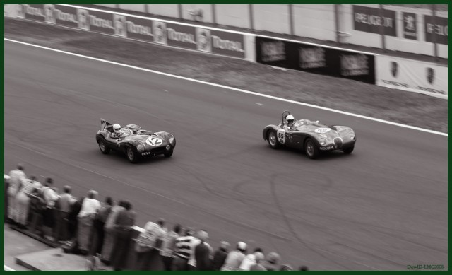 A D-Type (right) and C-Type (left) at a classic car race in 2008.