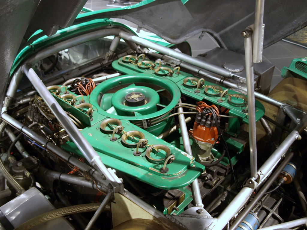 The flat-12 engine that powered the 917. The engine cylinders are air-cooled (the circular device in the middle is a fan).