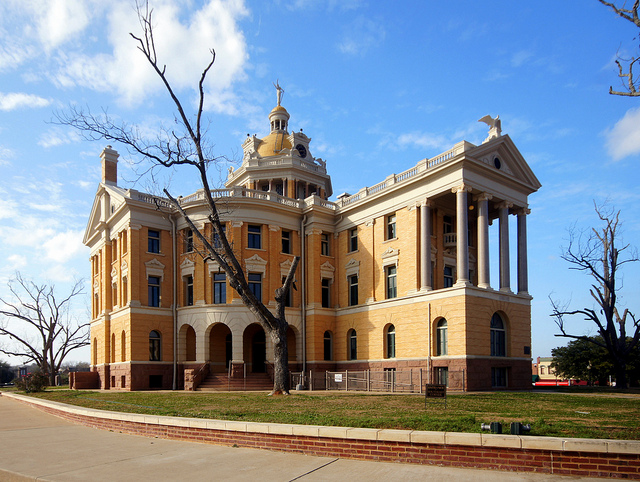 The historic courthouse in Marshall, Texas.