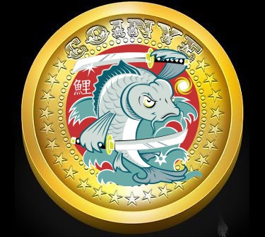 "A <a href=""""http://www.reddit.com/r/coinyecoin/comments/1v7vth/new_coinye_logo_idea_fighting_samurai_koi_fish/"""">new Coinye logo</a> that's been, ahem, floating around."