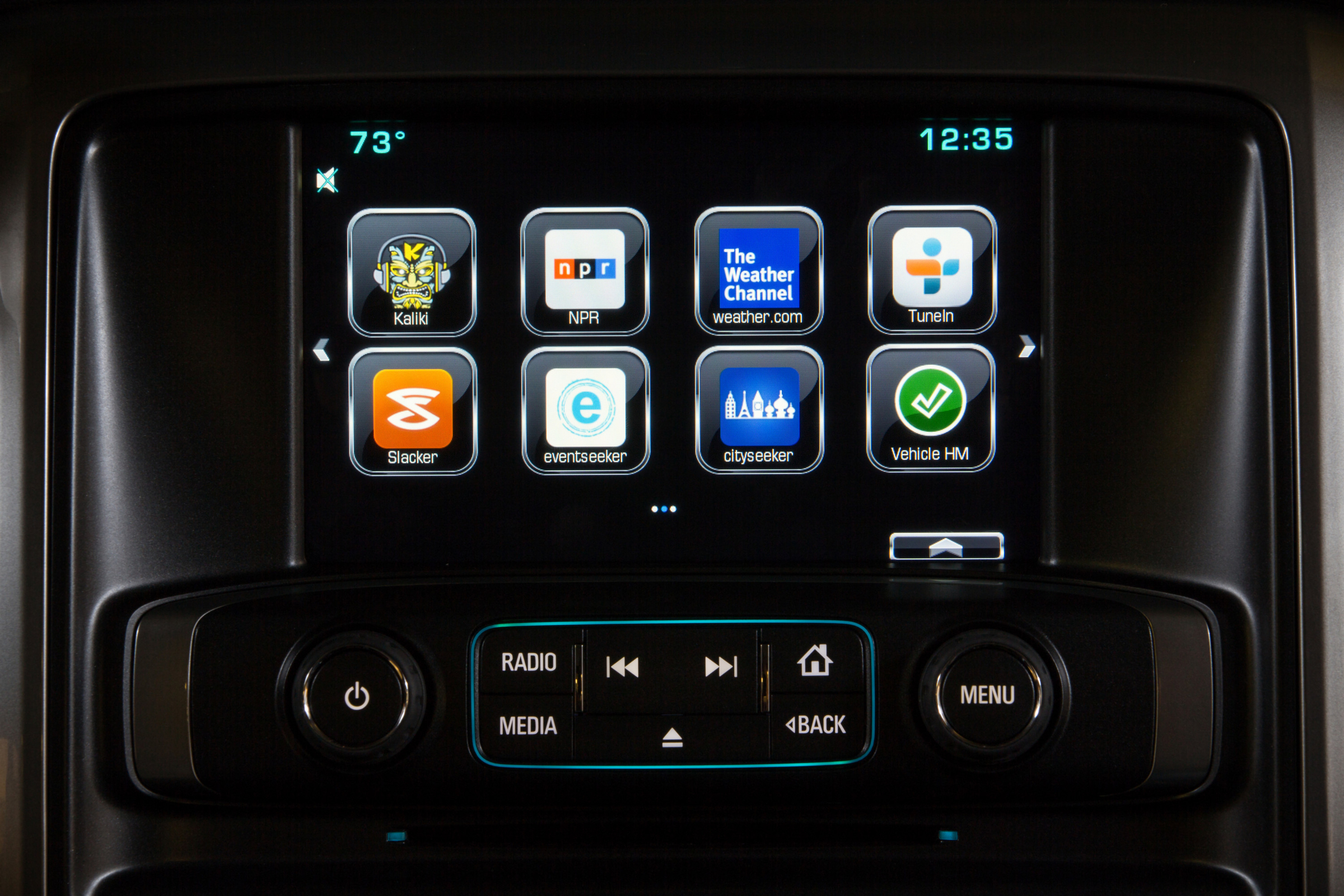 The interface to Chevy MyLink includes a button to access the new AppShop.