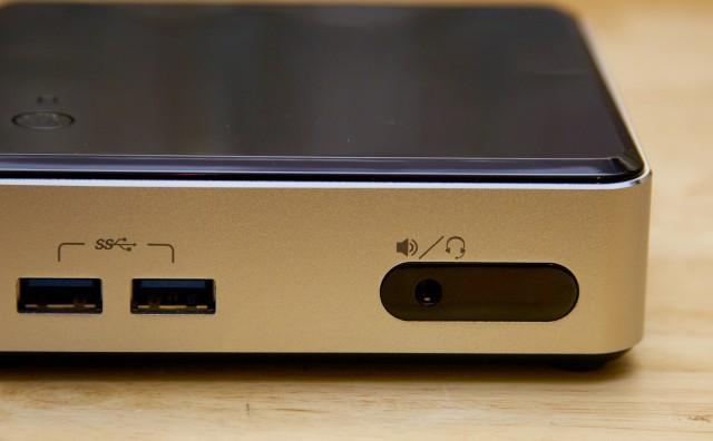 The NUC has a cutout on front for an IR receiver, ideal for Windows Media Center remotes.