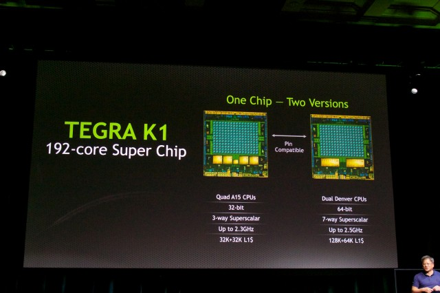 The Tegra K1 is actually two different chips. The two are pin-compatible and share the same GPU, but have different CPUs.