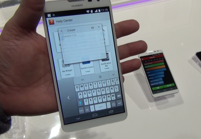 "The Ascend Mate2 4G in my hand, with ""floating"" notepad app hovering over the interface."