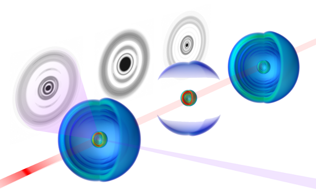 Visualization of an argon atom in a Rydberg state (three spheres) at different points in time, after bombardment by X-ray photons. The circular patterns at left are those formed by the X-rays after they scatter. The three images in sequence show the evolution of the atom in space and time.