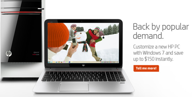 """HP offers Windows 7 on some new PCs """"by popular demand"""""""