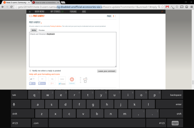 Chrome OS' virtual keyboard.