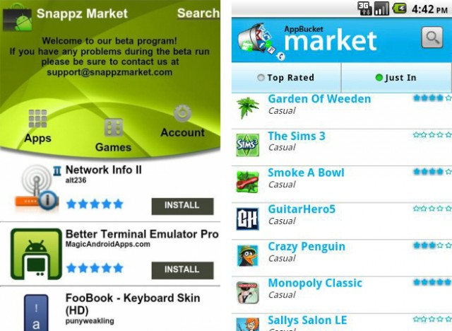 The hacked Android Market apps of SnappzMarket and AppBucket.