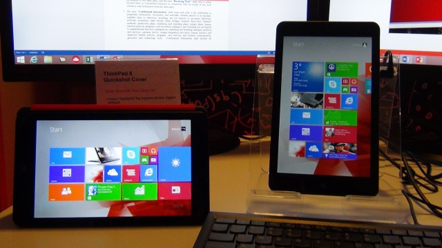 Driving two monitors through a USB  3.0 dock, the ThinkPad 8 is the tablet that thinks it's a desktop.