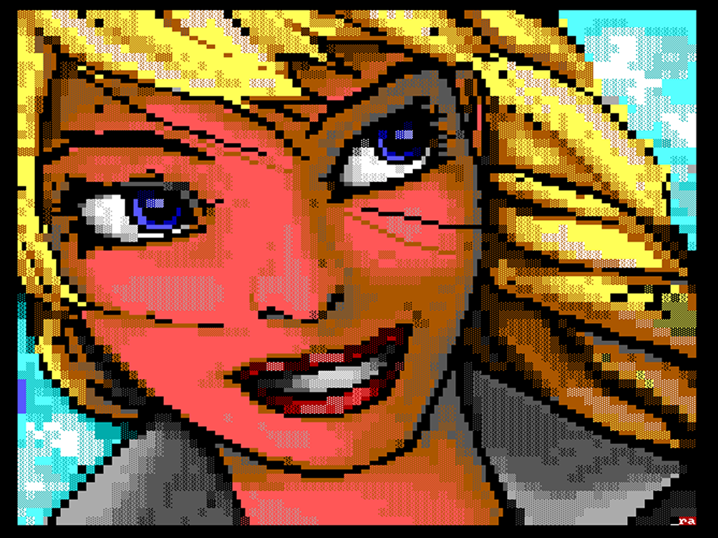 """Ansi Blondie,"" by Reanimator of iCE. This is all made out of colored ASCII characters."