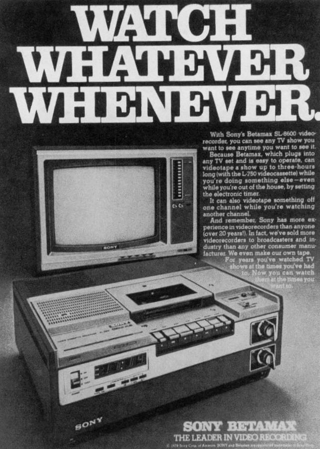A 1976 advertisement for the first Sony Betamax.