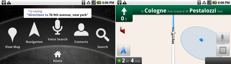 The Car Home screen, and, because we have room, a horizontal version of Navigation.