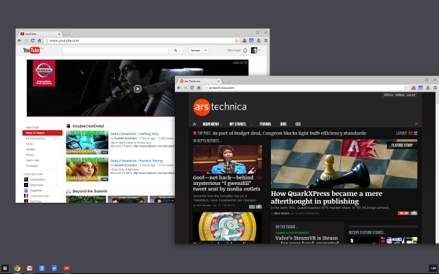Chrome's Windows 8 mode in action.