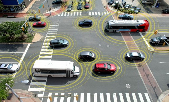 An artist's conception of vehicle-to-vehicle communications in action—every car, bus, and truck reporting where it is, where it's going, and how fast it's moving.