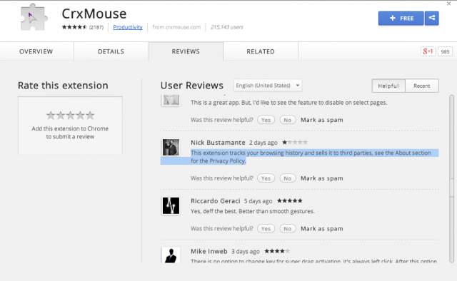 Customers complain about activity tracking in CRXMouse on Chrome, a particularly invasive add-on.