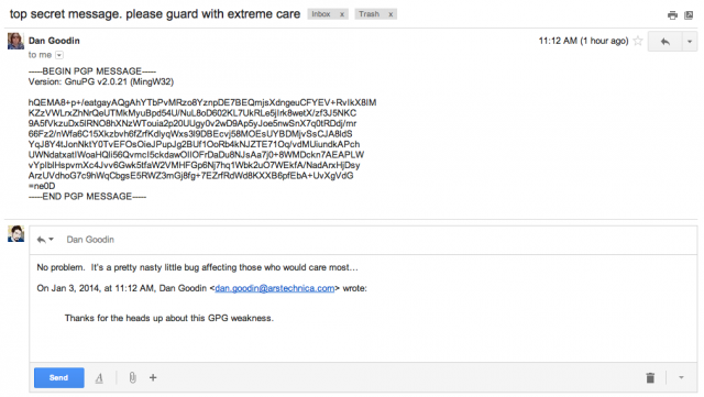 A plaintext draft of an encrypted e-mail saved on Gmail servers, despite settings for no drafts to be saved.