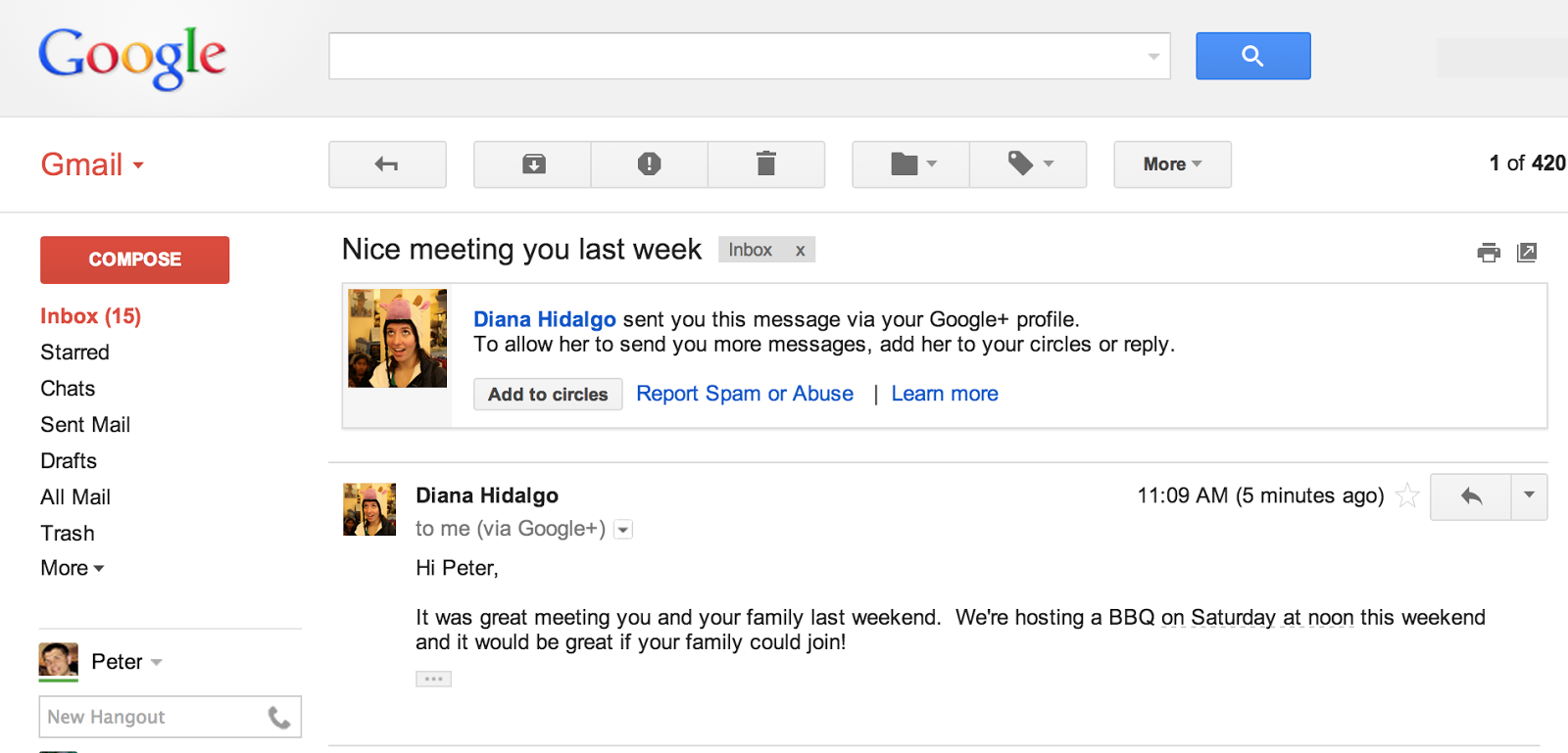 How the Google+ e-mails will appear in Gmail.