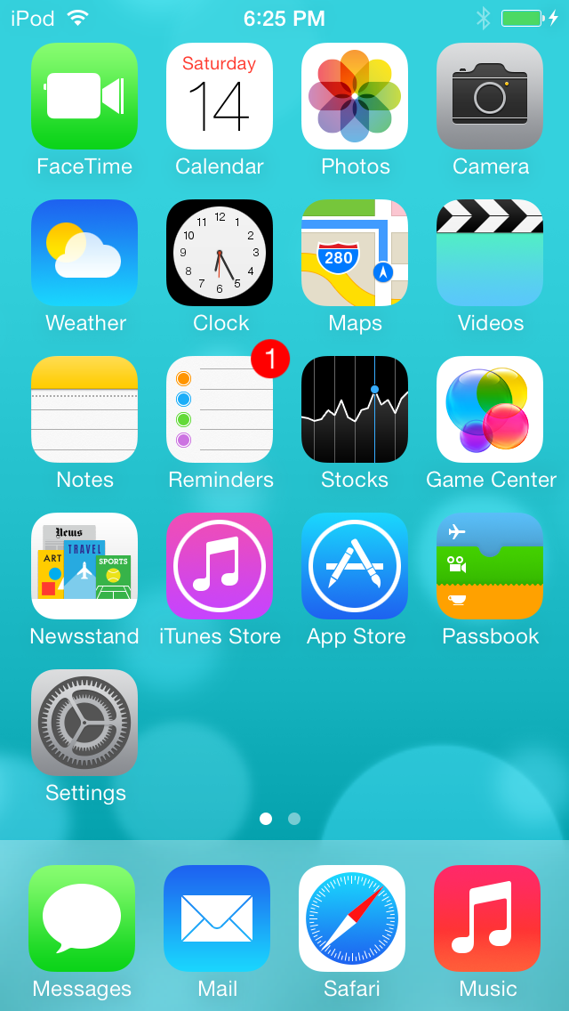 iOS 7.0 on an iPod touch.