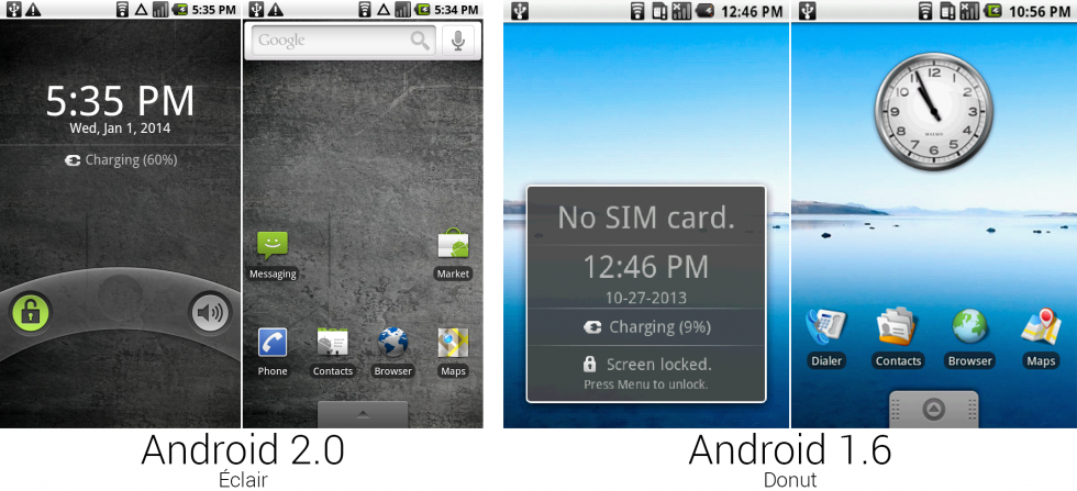 The lock and home screens from 2.0 and 1.6.
