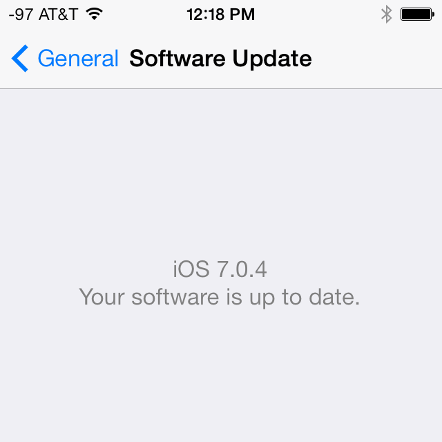 The iOS 7.0.5 update won't apply to many iDevices. This AT&T iPhone 5S reports that version 7.0.4 is the latest available version.