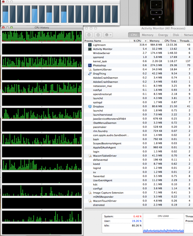 CPU history while exporting a heavily filtered batch of 7D RAW files to JPEG.