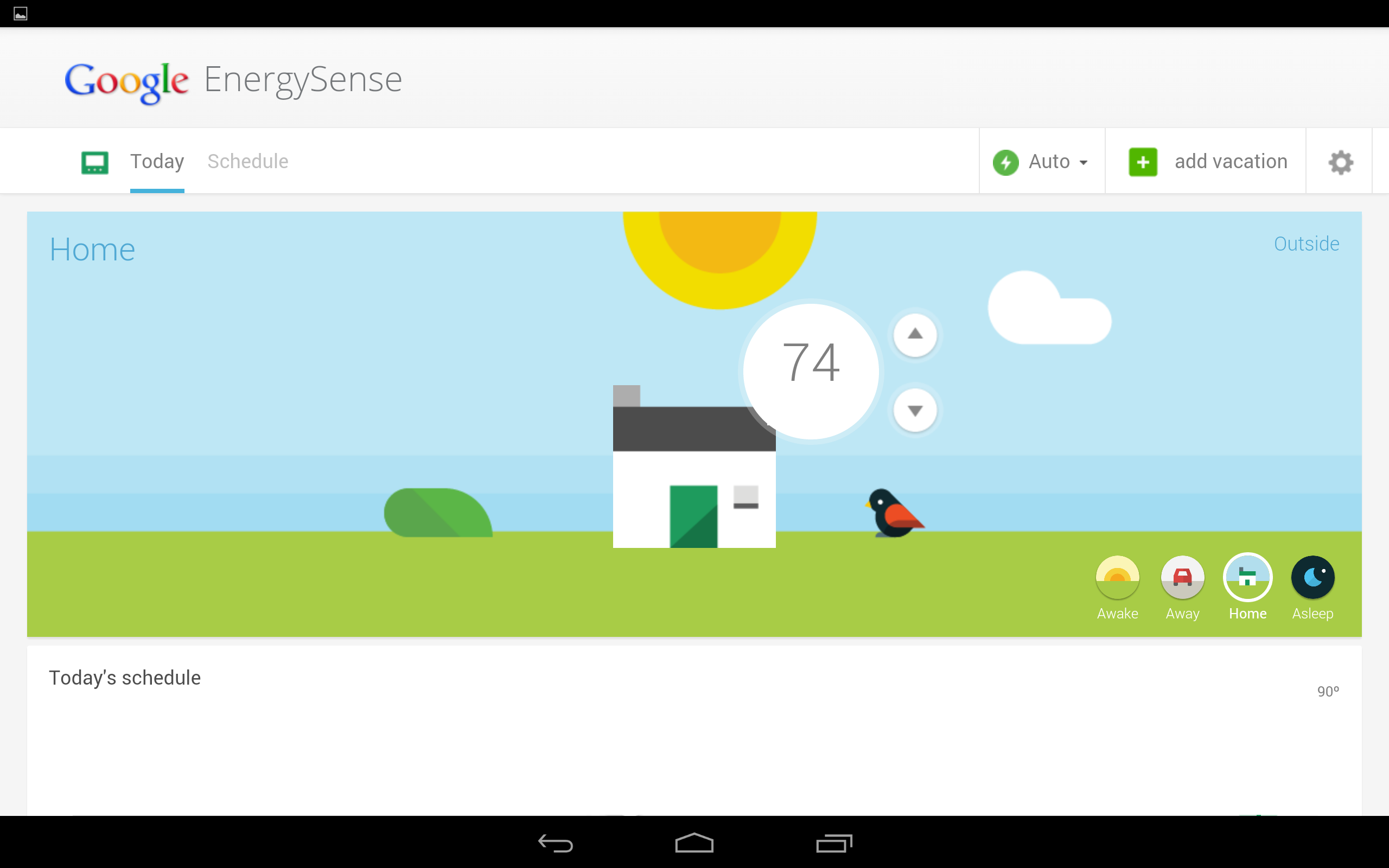 A leaked picture of Google's EnergySense app.