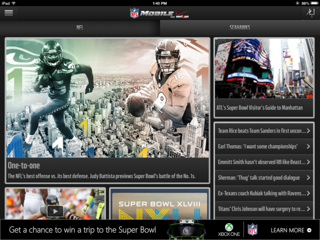 The NFL Mobile app is ready for the Super Bowl.