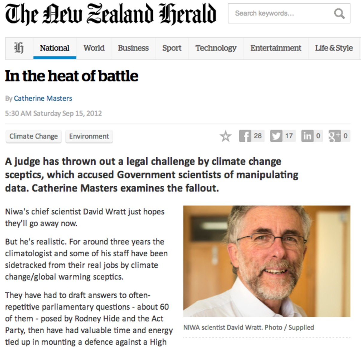 The New Zealand weather wars in the news.