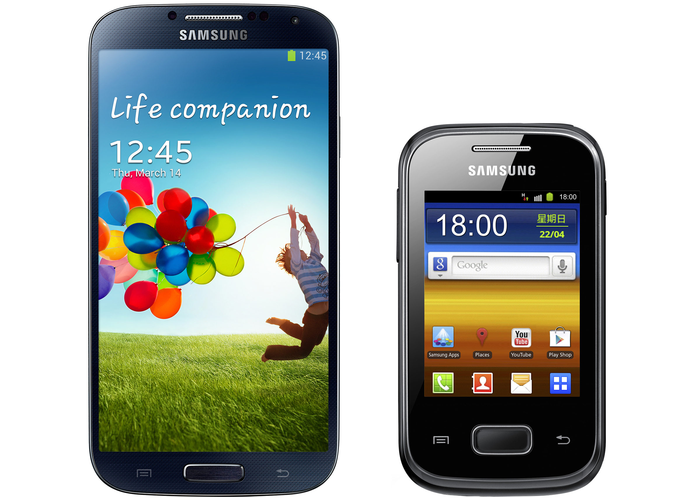 To-scale images of the Samsung Galaxy S4 (left) and a popular device in the developing world, the Samsung Galaxy Pocket (right).