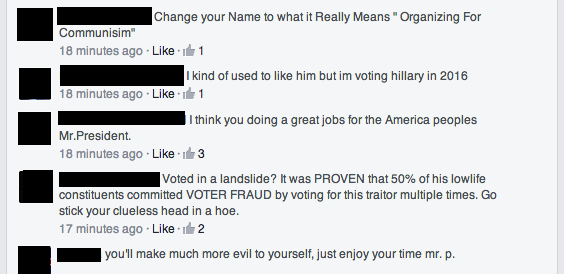 Facebook: home of the quintessential tempered and rational political discourse.