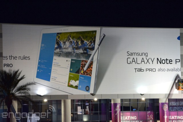 Samsung Galaxy Note Pro and Tab Pro leak via humongous CES banner